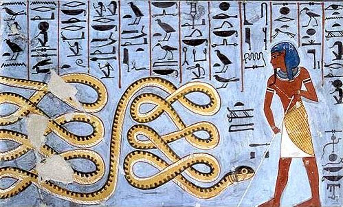 Pintura del antiguo Egipto en la que un dios ahuyenta a Apep. (Public Domain)
