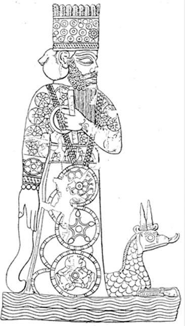 Representación babilónica del dios nacional Marduk, concebido como miembro destacado de los Anunnaki (Dominio público)