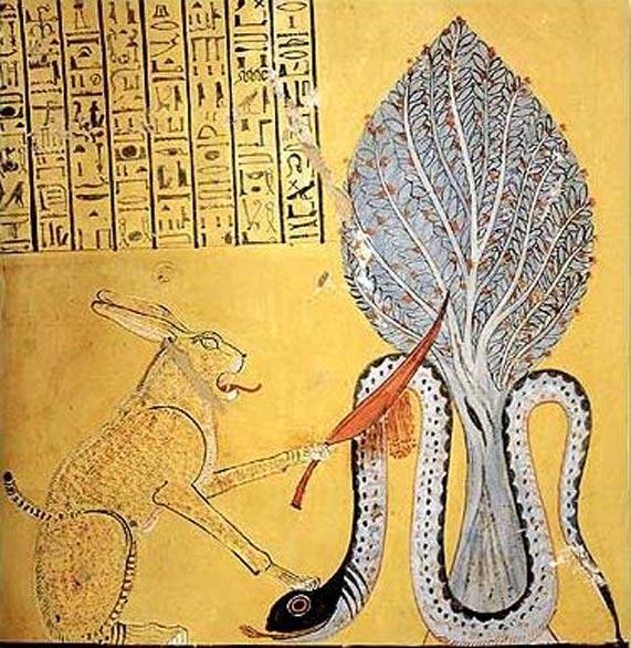 El dios del sol Ra, bajo la forma de un gran felino, da muerte al demonio serpiente Apep, encarnación del caos. (Public Domain)
