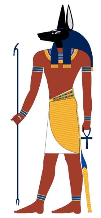 El dios egipcio Anubis (ilustración moderna inspirada en pinturas halladas en una tumba del Imperio Nuevo) (GFDL)