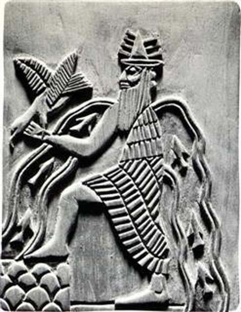El dios sumerio Enki. Reproducción moderna de un detalle del sello de Adda (c. 2300 a. C.) (Public Domain)