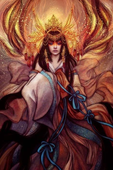 Representación moderna de Amaterasu. (Dragons Fairies Elves & the Unseen)