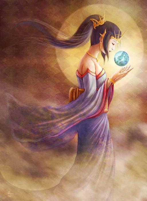 Representación moderna de Amaterasu. (Dragons Fairies Elves & the Unseen)