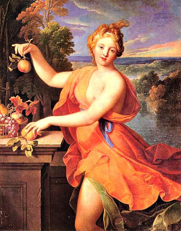 """Los romanos dedicaban una festividad a Pomona, diosa de las cosechas y los frutos, cuyo símbolo es una manzana: hay que tener en cuenta que uno de los juegos tradicionales de Halloween es el de morder la manzana. """"Pomona"""" (c. 1700). Óleo sobre lienzo de Nicolas Fouché (1653-1733). Museo de Bellas Artes de Budapest. (Public Domain)"""