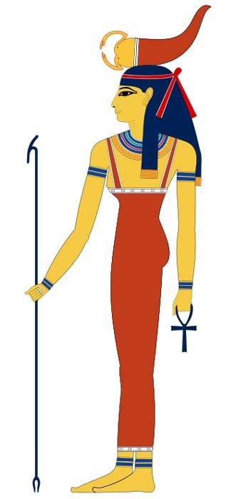 Diosa egipcia Serqet. Obsérvese el escorpión sobre su cabeza. (GFDL)