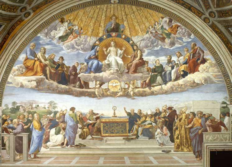 'Disputa del Santísimo Sacramento' (1509-1510), fresco de Rafael Sanzio. (Dominio público)