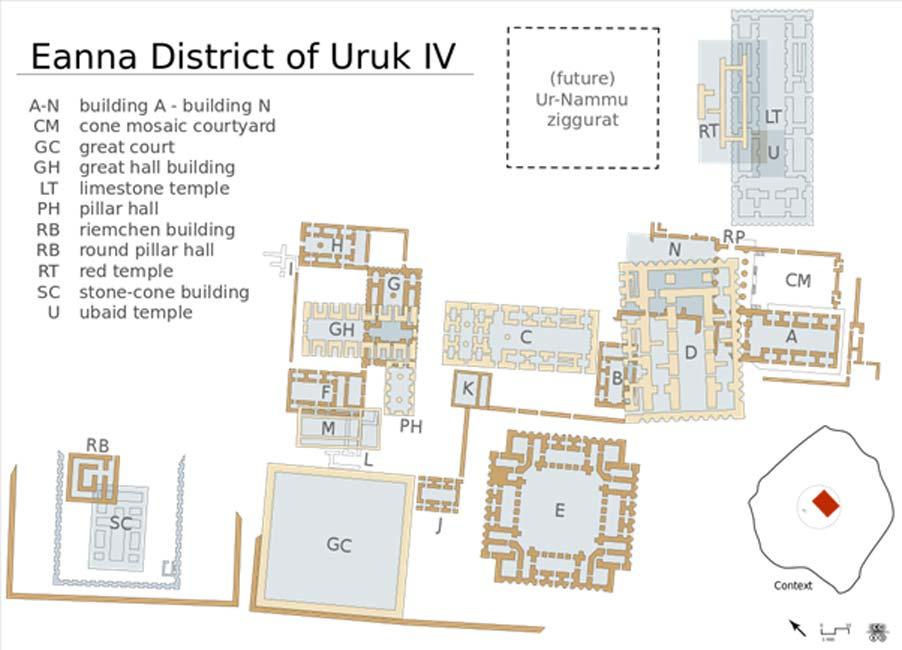 Plano del distrito de Eanna, en la antigua ciudad de Uruk. (CC BY-SA 3.0)