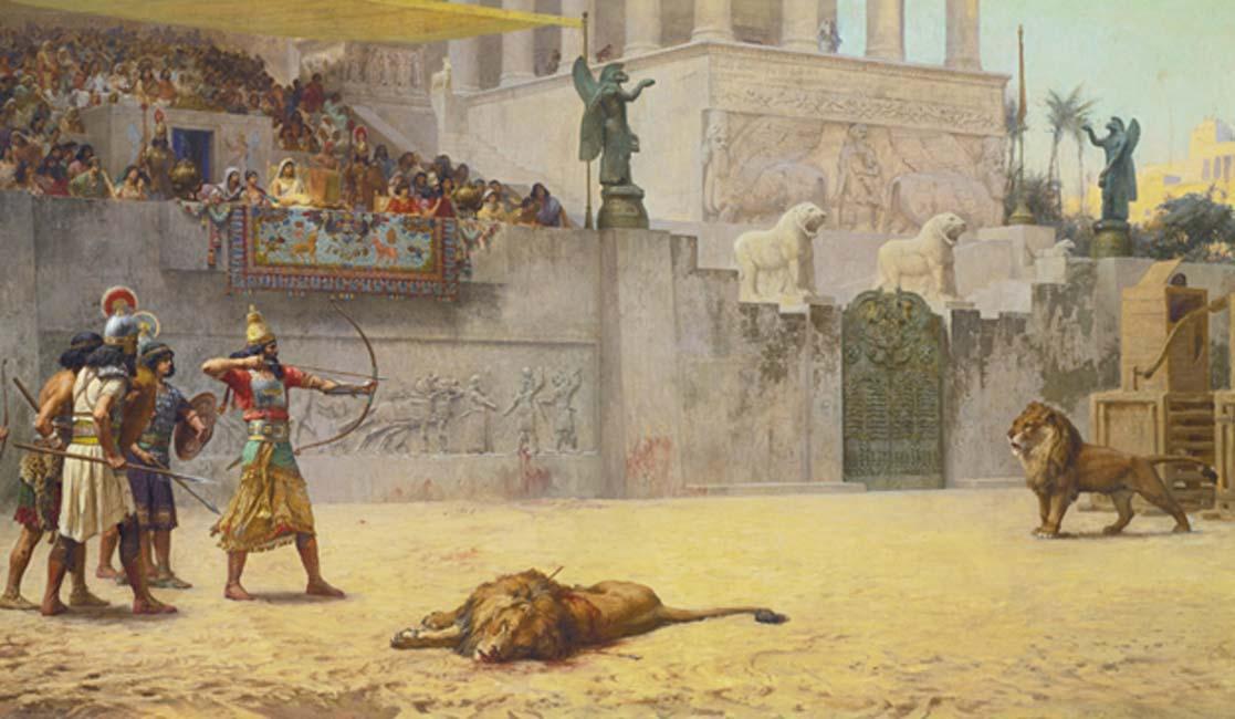 'La diversión de un rey asirio', óleo de Frederick Arthur Bridgman (Public Domain)