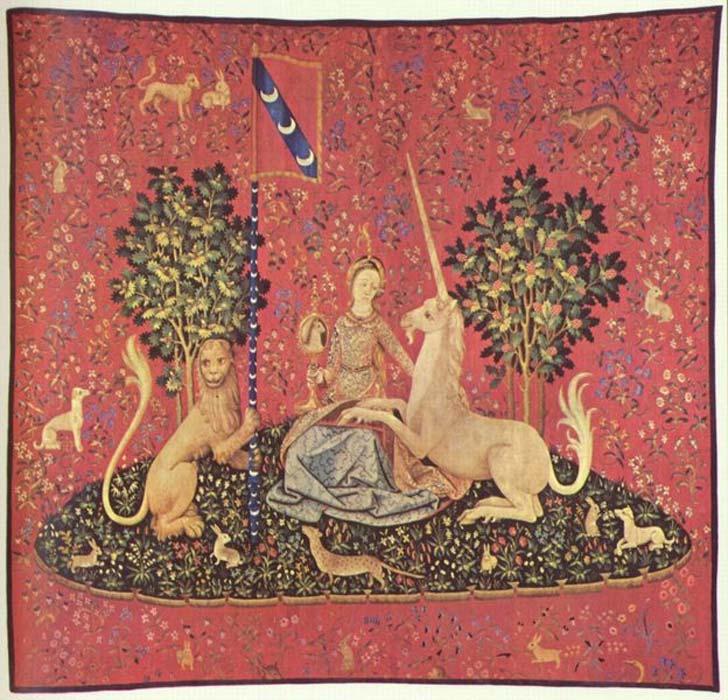 Doncella con unicornio, tapiz del siglo XV (Museo Cluny, París). (Public Domain)