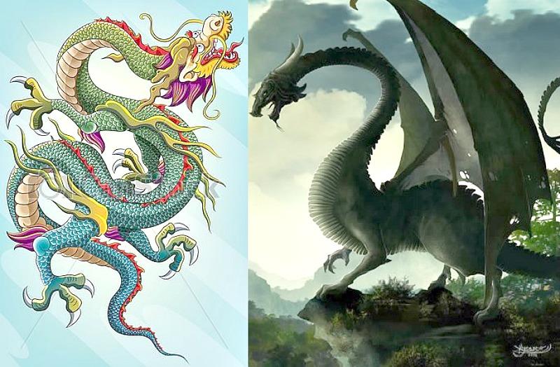 Representación de dragón chino a la izquierda y un dragón occidental a la derecha. (Imágenes: La Gran Época)