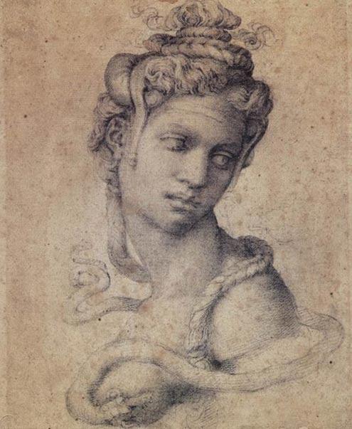 Dibujo de Cleopatra, por Miguel Angel (1534)