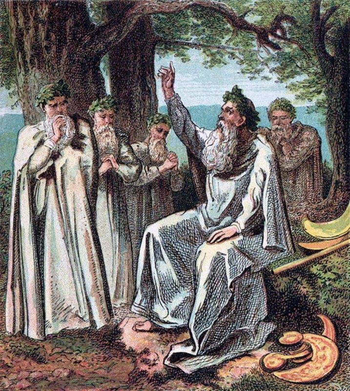 """En la noche de Samhain, los druidas encendían enormes fogatas y recitaban numerosos conjuros con la intención de ahuyentar a los malos espíritus. Dibujo perteneciente al libro """"Pictures of English History"""" (Grabados I-IV) (1868) de Joseph Martin Kronheim. (Public Domain)"""