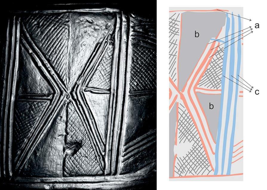 A la izquierda detalle del denominado Tambor 1, con un esquema de sus grabados a la derecha; los espacios de color gris en el esquema indican según los investigadores zonas de la superficie del tambor en las que se borraron grabados realizados anteriormente. (Antiquity photo)
