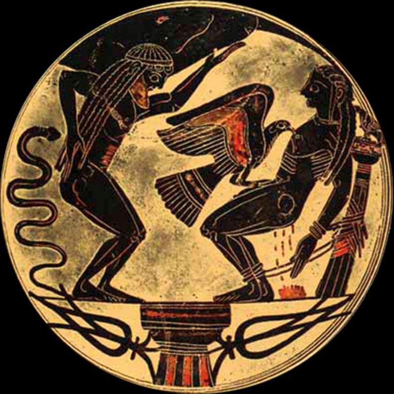 El águila desgarra la carne de Prometeo y devora su hígado cada día, por el resto de la eternidad. Cuenco de Laconia (~550 a. C.) (Karl Ludwig Poggemann, Flickr/CC BY 2.0)