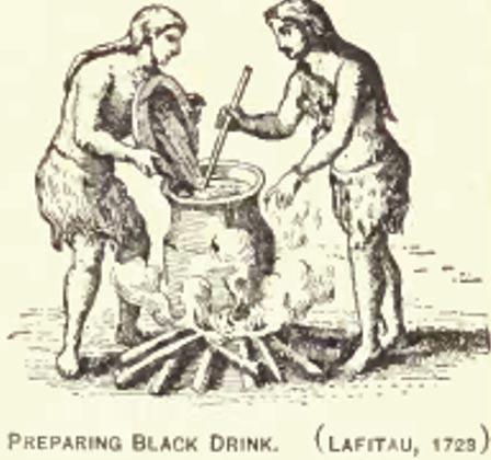 """Grabado en el que aparecen dos nativos americanos de las Tierras Boscosas del Este preparando """"Bebida Negra"""" en 1723. Public Domain"""
