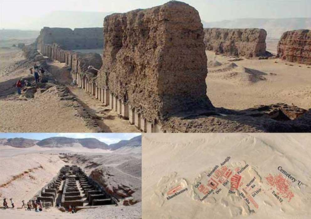 """Arriba: Edificios funerarios de Hieracómpolis. Abajo: Lugar de enterramiento (izquierda) y mapa del cementerio (derecha). Cortesía de Google Earth y """"Odyssey, Adventures in Archaeology"""""""