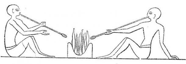 Sopladores de vidrio egipcios de la XII dinastía (aproximadamente el 2.200 a. C.) (Wikimedia Commons)