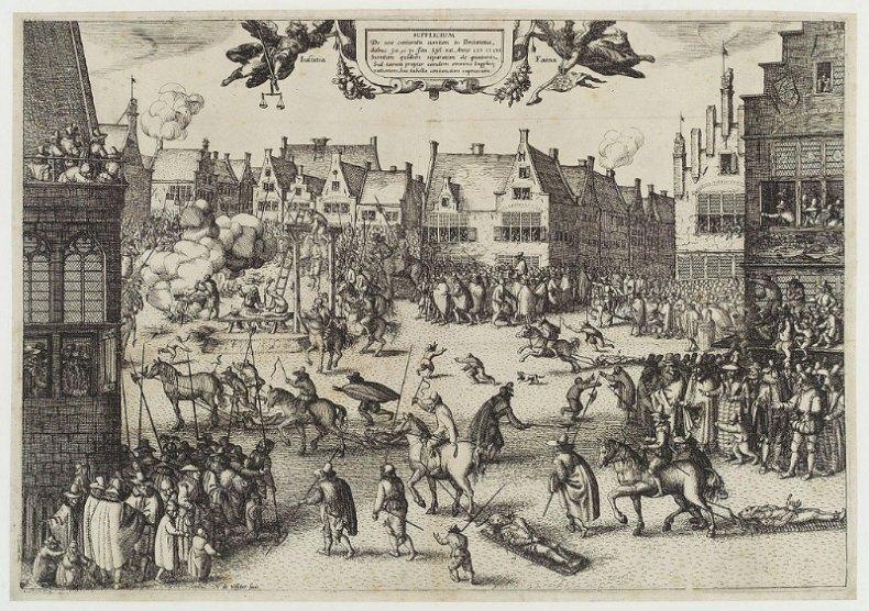 """""""La ejecución de Guy Fawkes"""", grabado de Claes Jansz VIsscher, donado a la National Portrait Gallery de Londres en 1916 (Public Domain)"""