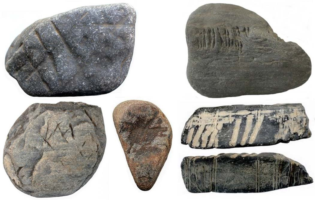 Ejemplos de arte rupestre portátil (fotografías aportadas por el autor)