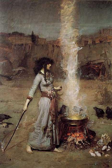 'El Círculo Mágico', óleo de John William Waterhouse. (Dominio público) Muchos paganos modernos creen en la magia.