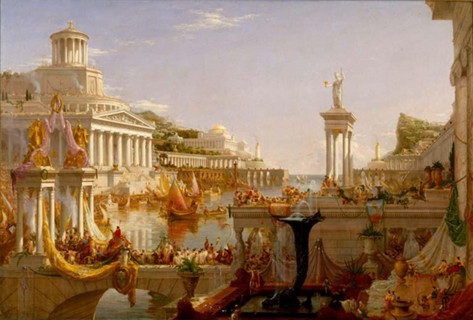El Curso del Imperio, pintura de Roma obra de Thomas Cole. Fuente: Brandmeister/Dominio público.