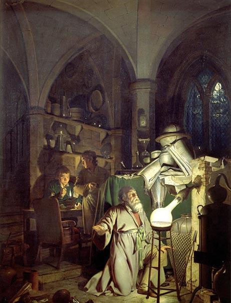 El Alquimista en Busca de la Piedra Filosofal. (1771), obra de Joseph Wright de Derby. (Public Domain)