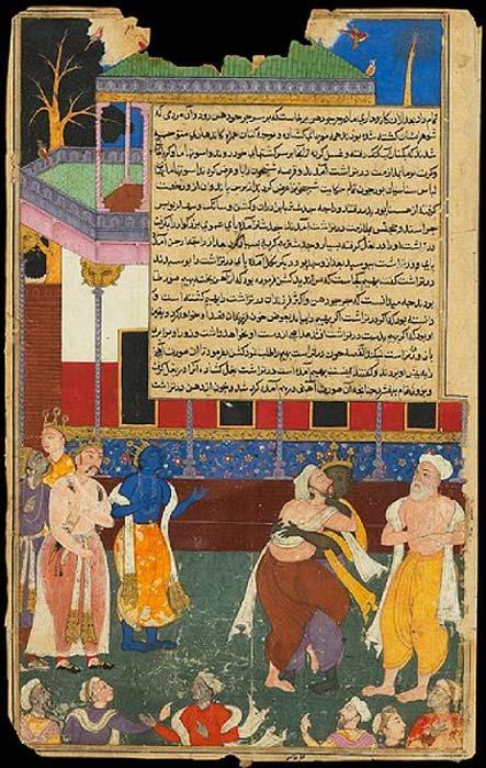 El rey ciego Dhritarashtra ataca a una estatua de Bhima. Norte de la India, 1616-1617. (Dominio público)