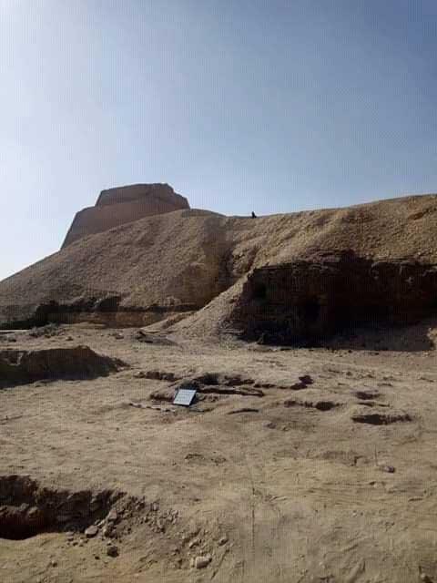 El sitio de excavación cerca de la pirámide de Meidum. (Ministerio de Antigüedades)