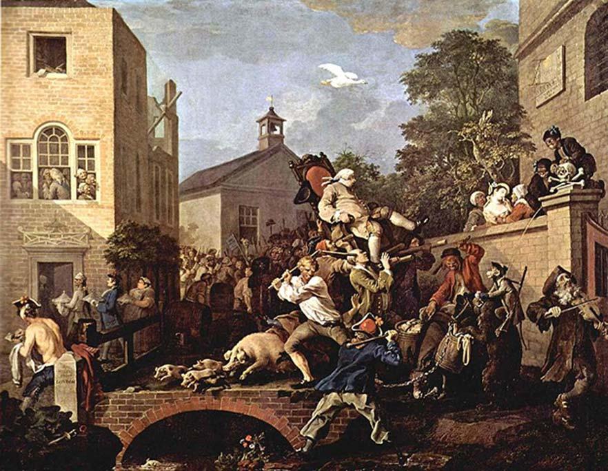 """""""El triunfo del elegido"""", William Hogarth, 1764. (Dominio público)"""