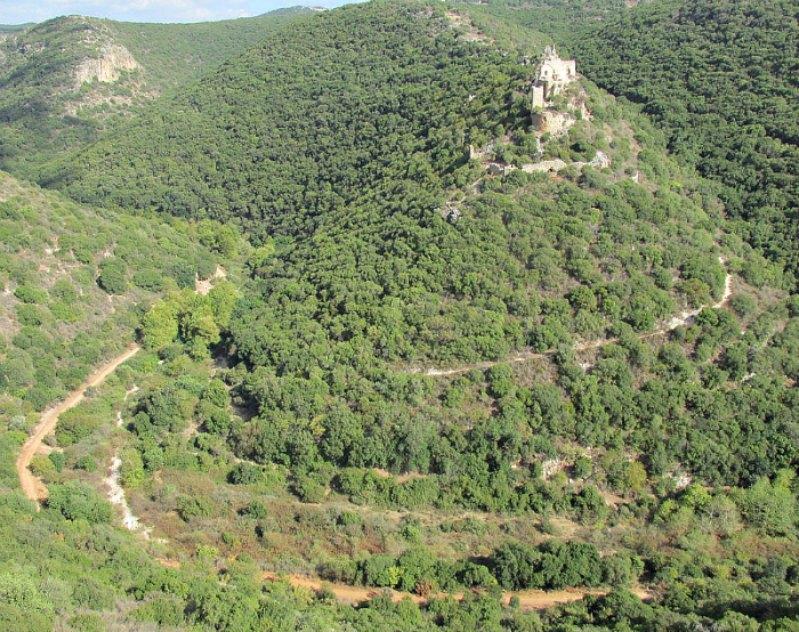El aislado emplazamiento del castillo de Montfort se encuentra 35 kilómetros al noreste de la ciudad de Haifa y 16 kilómetros al sur de la frontera entre Israel y el Líbano.(Athanasius Soler/CC BY-SA 3.0)