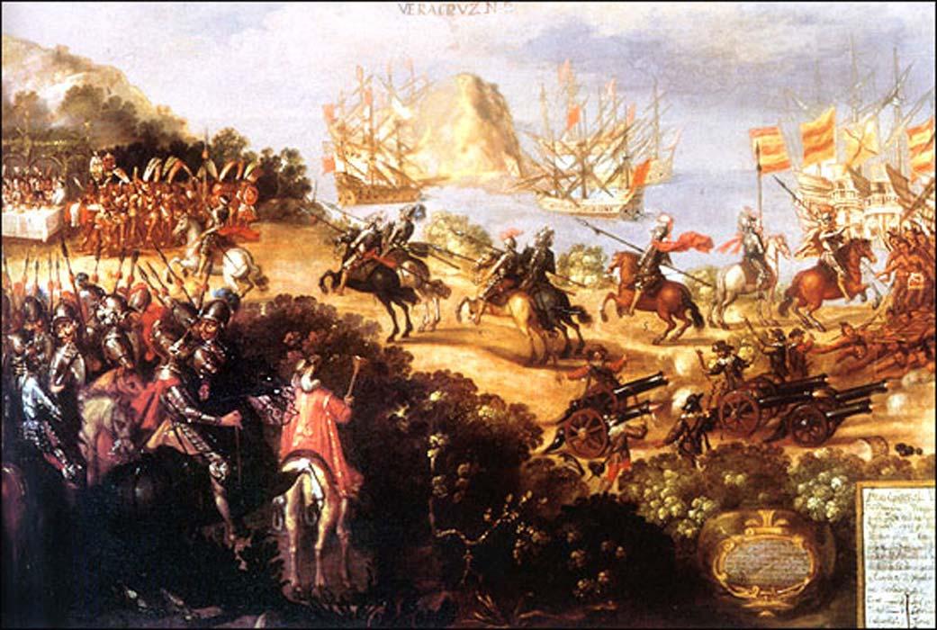 Llegada de Cortés a Veracruz y recepción por parte de los embajadores de Moctezuma (Dominio público)