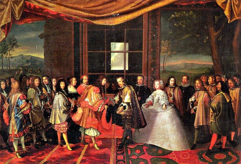Encuentro entre Luis XIV de Francia y la infanta española María Teresa de Austria celebrado en la Isla de los Faisanes. Óleo del artista Jacques Laumosnier. Museo Tessé. (Public Domain)