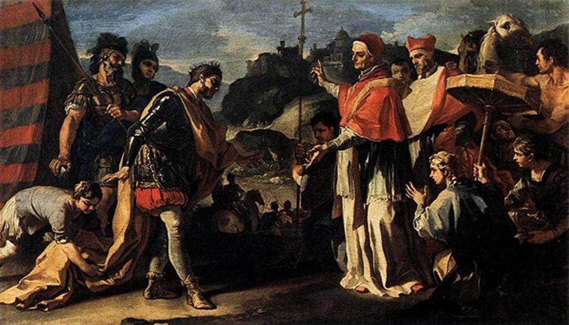 'Encuentro entre el papa León y Atila', óleo de Francesco Solimena (Public Domain). Los hunos renunciaron a sus planes de invadir Roma tras esta reunión.