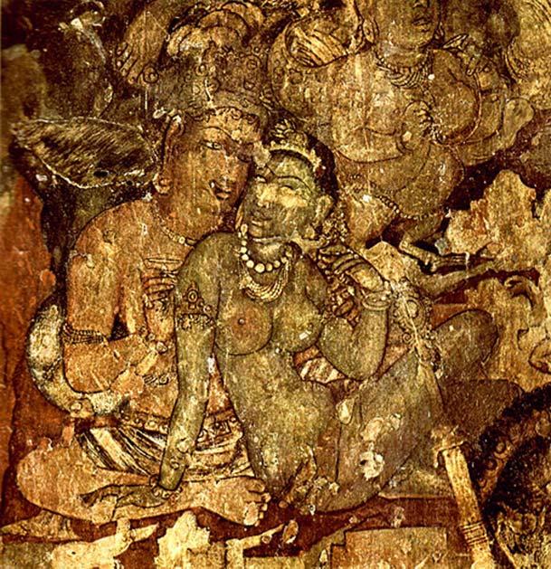 Pintura de las cuevas de Ajanta, Maharahstra (India) en la que se observa un encuentro amoroso entre un hombre y una mujer. (Dominio público) Cuenta la leyenda que cualquier tipo de contacto con una Visha Kanya, en especial el contacto sexual, podía resultar fatal.