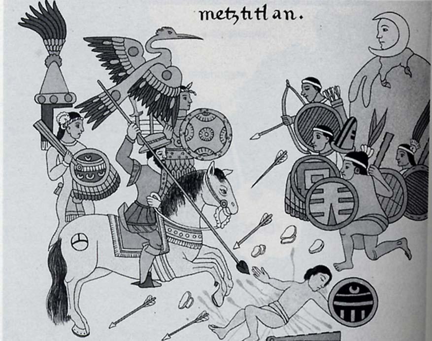 Combatientes españoles y sus aliados se enfrentan a los aztecas. Ilustración de la 'Historia de Tlaxcala'. (Dominio público)