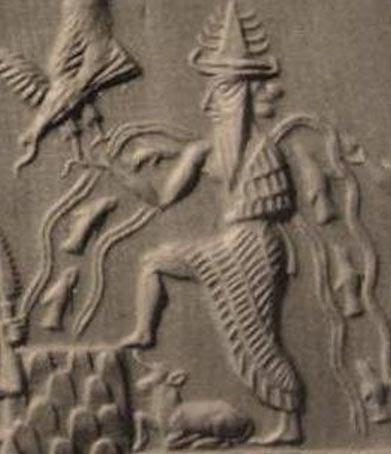Detalle de Enki en el Sello de Adda, antiguo sello cilíndrico acadio que data de alrededor del año 2300 a. C. (Dominio público)