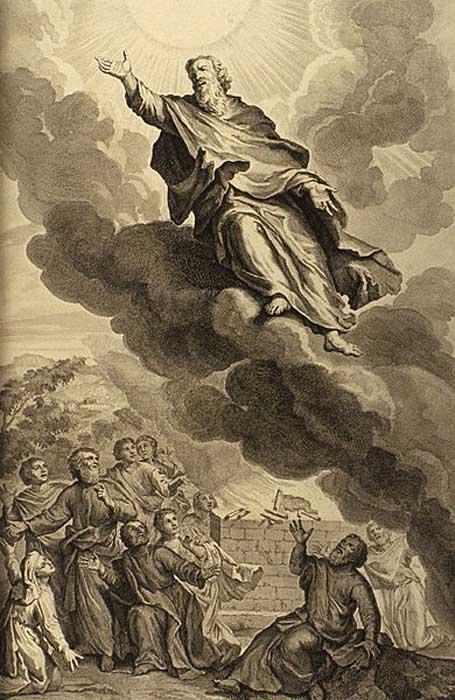 """Génesis 5,24: """"Enoc anduvo con Dios, y desapareció porque Dios se lo llevó."""" (Biblia de Jerusalén) Ilustración del libro de 1728 'Figuras de la Biblia'.(Dominio público) Enoc fue el séptimo de los patriarcas antediluvianos."""