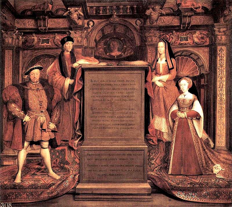 """Enrique VIII falleció el 28 de enero del año 1547 en el palacio de Whitehall, y fue sepultado en la Capilla de San Jorge del castillo de Windsor, junto a su tercera esposa, Juana Seymour. En la imagen, """"Enrique VII, Elizabeth de York, Enrique VIII y Juana Seymour"""", óleo obra de Hans Holbein el Joven (1497/1498–1543) en el que aparecen Enrique y su esposa Juana acompañados de los padres del rey. Colección de la Familia Real Británica. (Public Domain)"""