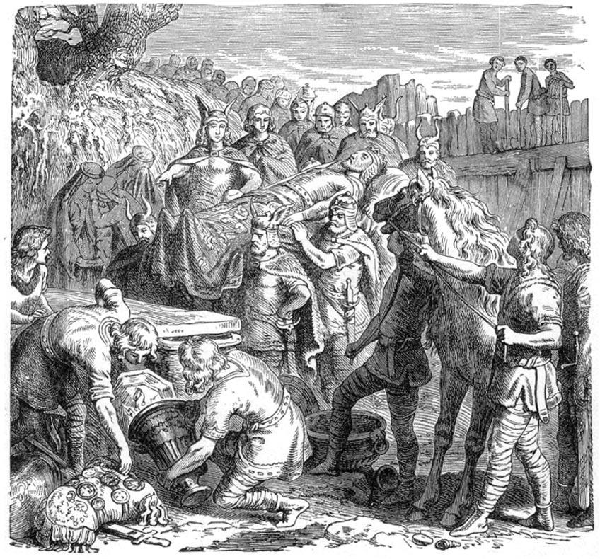 Entierro de Alarico en el lecho del río Busento. 1895, grabado sobre madera. (Public domain)