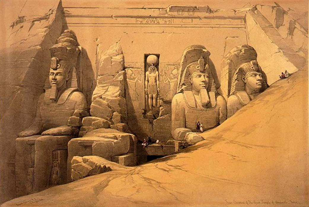 Fotografía de uno de los grabados que ilustra la obra de David Roberts 'Egipto y Nubia', edición de 1845-49. En él podemos observar la entrada principal de Abu Simbel semienterrada en la arena. (Dominio público)