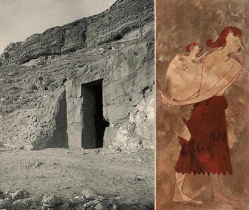 Izquierda: Entrada a la tumba BH14 del nomarca Khnumhotep I en Beni Hasan. Reinado de Amenemhat I, principios de la Dinastía XII, Imperio Medio. (Dominio público) Derecha: Mujer libia o kushita con su bebé, pintura perteneciente a la tumba de Khnumhotep I. (Dominio público)