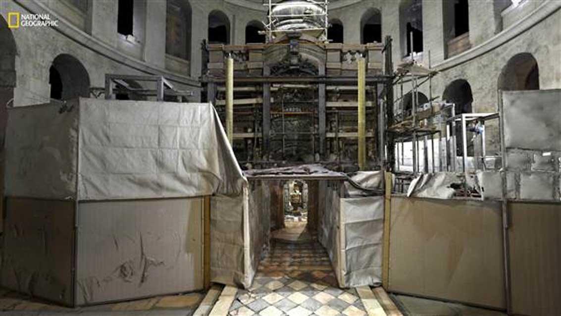 La entrada a la tumba durante las reformas. (Corey Jaskolski / National Geographic)