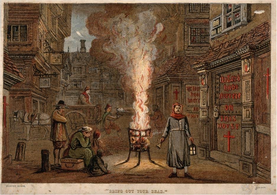 """""""Saque a su muerto"""". Una calle de Londres, durante la Gran Peste de 1665, con un carro cargado de cadáveres y personas lamentando la muerte de sus seres queridos. Wellcome Images, una web operada por Wellcome Trust, fundación de beneficencia global con sede en el Reino Unido."""