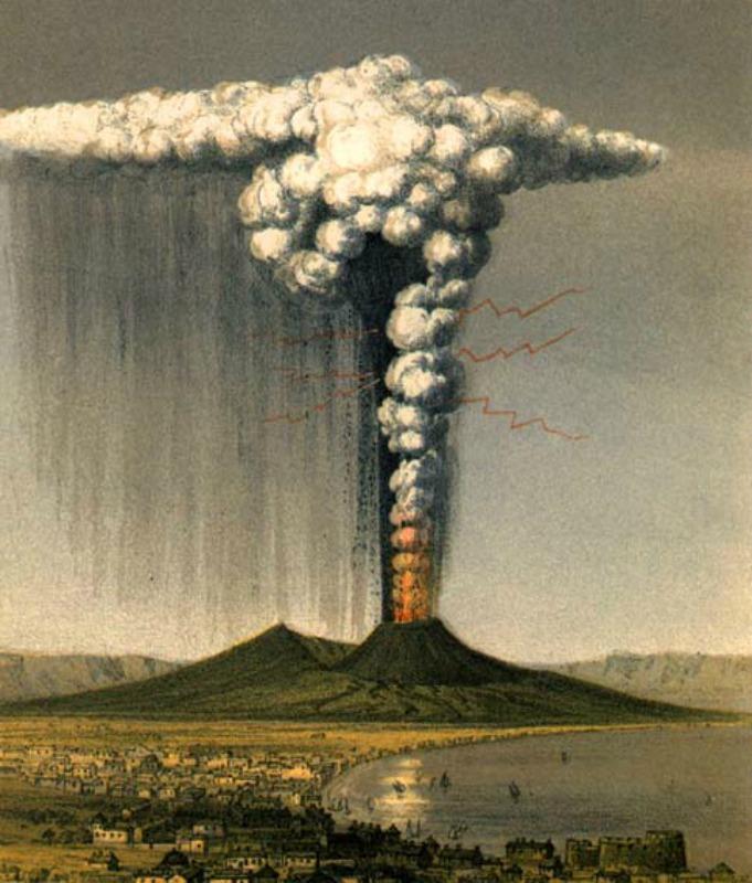 """""""La erupción del Vesubio vista desde Nápoles, octubre de 1822."""" Ilustración de George Julius Poullet Scrope (1797- 1876).(Public Domain)"""