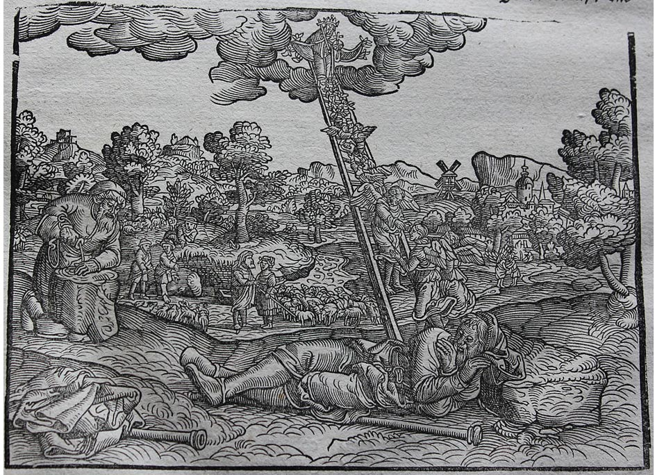 Ilustración de la Biblia de Lutero original (1534), en la que la escalera de Jacob aparece dibujada como una escalera de mano. (CC BY-SA 4.0)