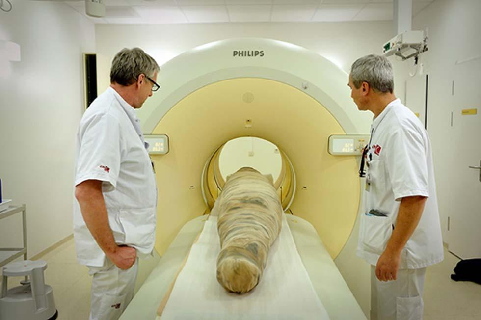 Científicos examinan mediante escáner tridimensional la momia de los cocodrilos en el año 2015. (Mike Bink)