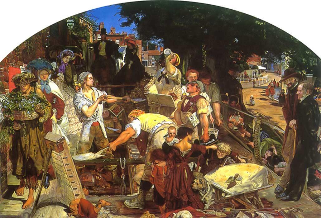 Ilustración de una escena callejera ambientada en la Inglaterra de la época victoriana. (Public Domain)