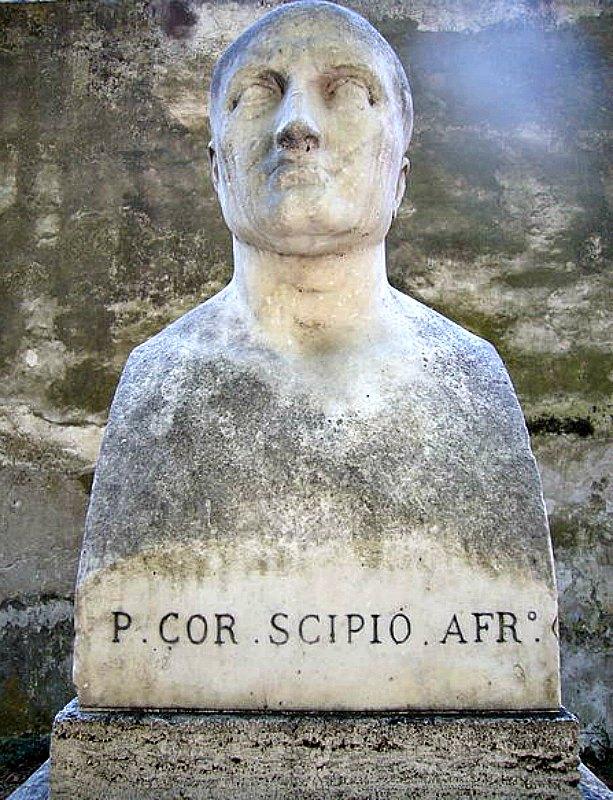 Busto romano de Escipión el africano, general romano que tomó la ciudad cartaginesa de Qart Hadasht, rebautizándola como Cartago Nova. (Lalupa/CC BY – SA 3.0)