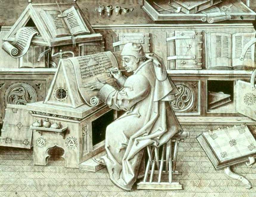 Ilustración de un escriba europeo, Jean Miélot, en pleno trabajo. (Dominio público)