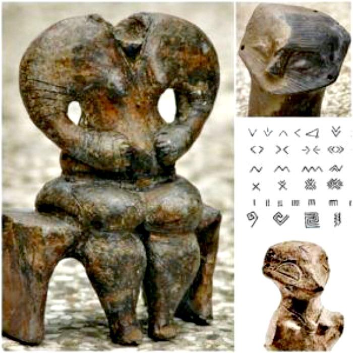 El arqueólogo serbio Radivoje Pešic propone que la escritura Vinča es anterior a la escritura cuneiforme sumeria y que, de alguna forma, fue imitada por el resto de culturas florecientes de la región. (Imágenes: Código Oculto).